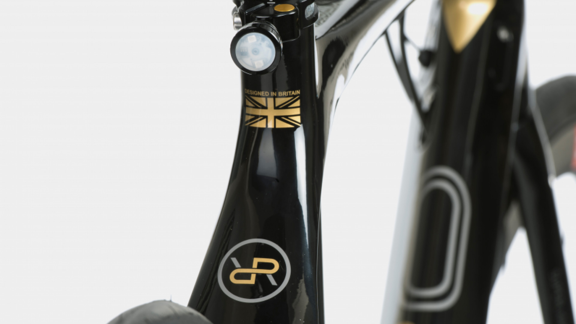 Close up photo of the Orro Gold STC bike frame with the Orro Gold logo