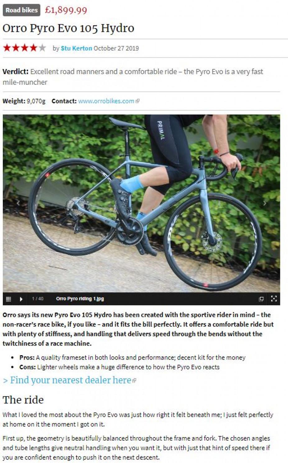 Pyro Evo 105 Hydro Road Cc Review Orro Bikes