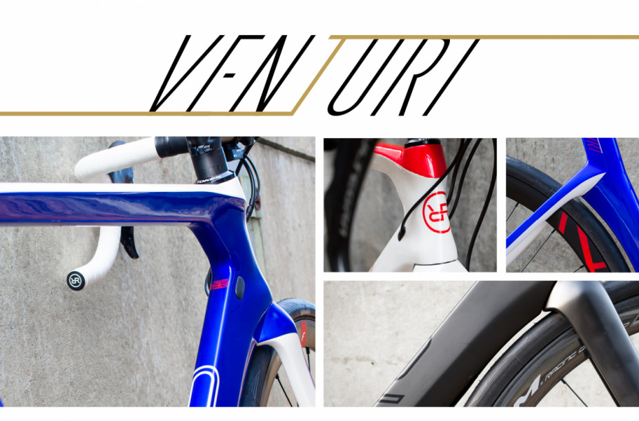 Venturi logo with a collage of detail shots of the Venturi Aero Road Disc Bike