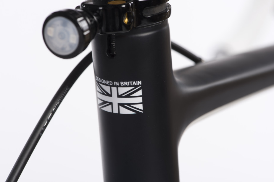 Close up shot of a made in britain stamp on a Orro Carbon Fibre Frame
